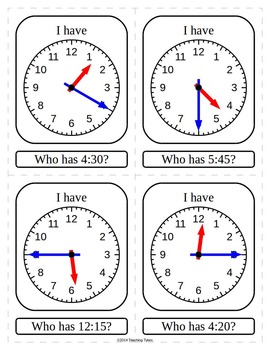 Telling Time 5 Minutes I Have Who Has Game