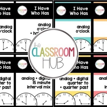 Telling Time Game - I Have Who Has - Group Activity - Polka Dots