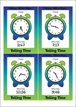 I Have, Who Has.. Telling Time Task Cards - SET 2