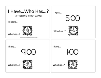 I Have, Who Has Telling Time card game