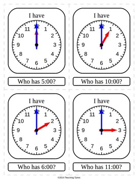 Telling Time Hour I Have Who Has Game