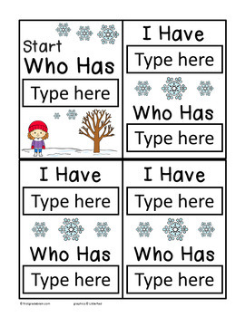 I Have Who Has Template - Winter Theme