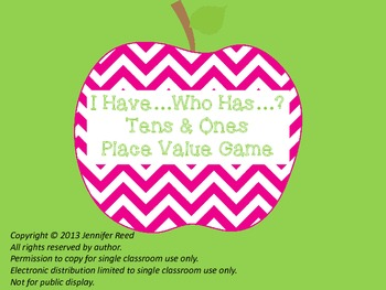 I Have Who Has Tens and Ones Apple Themed Place Value Game