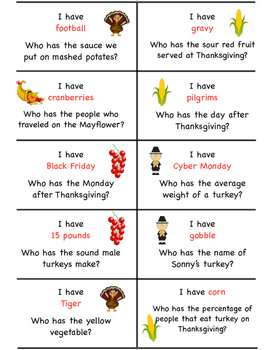 I Have... Who Has... Thanksgiving