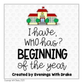 I Have Who Has The Beginning of the Year Card Set