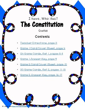 I Have, Who Has? The Constitution Games--Two Sets!
