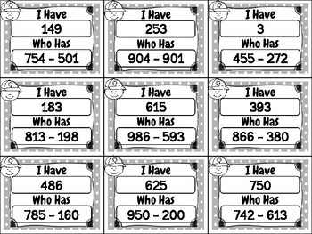 I Have Who Has Three-Digit Subtraction