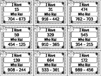 I Have Who Has Game: Three-Digit Subtraction