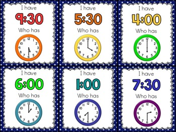 I Have, Who Has - Time {Hour and Half Hour}
