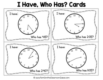 I Have Who Has Game Time to the Five Minute Cards