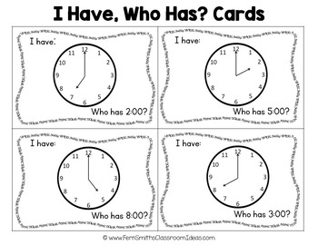 I Have, Who Has? Time to the Hour Cards Freebie