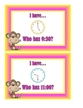 I Have... Who Has?  Time to the Hour and Time to the Half Hour