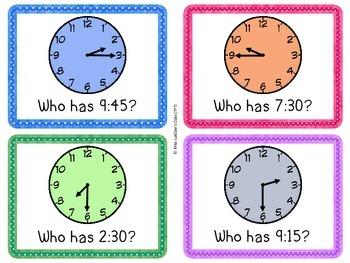 I Have, Who Has? - Time to the Quarter Hour {Ontario Grade 2 Measurement}