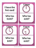 I Have, Who Has: Time to the hour and half hour