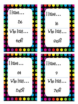 I Have, Who Has - Tricky Multiplication Facts