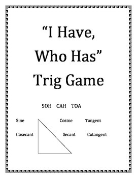 """I Have, Who Has""  Trig Game"
