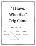 """""""I Have, Who Has""""  Trig Game"""