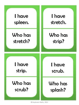 I Have, Who Has: Triple Consonant Blends