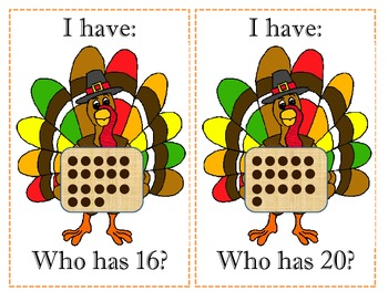 I Have Who Has Turkey Ten Frames
