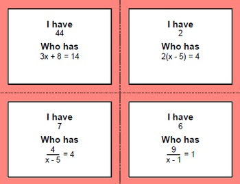 I Have, Who Has - Two Step Equations