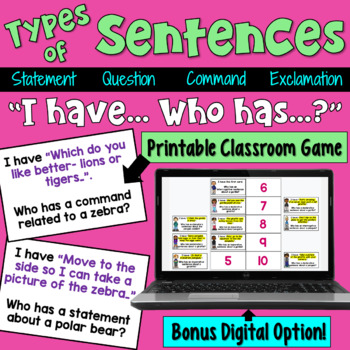 Types of Sentences I Have Who Has Game (Statement, Quest., Command ...