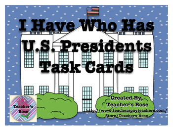 United States Presidents Task Cards