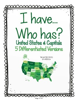 I Have Who Has United States - 5 Differentiated Versions