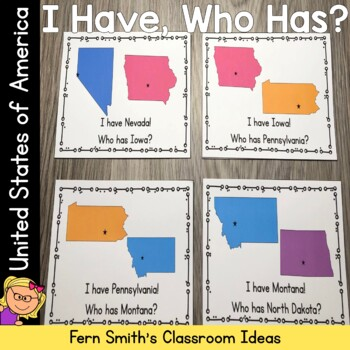 I Have Who Has Game United States of America Cards
