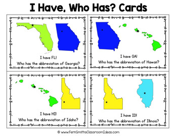 I Have Who Has Game United States of America - State Abbreviations Cards