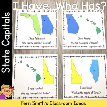 I Have Who Has Game United States of America - State Capitals Cards