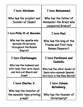 I Have Who Has VA SOL Review World History I WHI