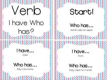 I Have, Who Has VERBS