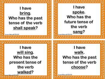 I Have Who Has Verb Tenses Game: Regular and Irregular Past, Present and Future