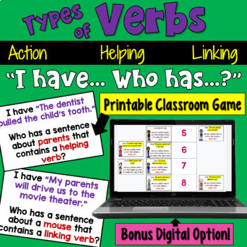 I Have... Who Has:  Verbs (Action, Linking, & Helping) Whole Class Activity Game