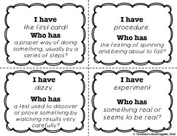 4th Grade Vocabulary Game (Reading Wonders 4th Grade Unit 5 Week 3)