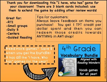 I Have Who Has Vocabulary Game (Reading Wonders 4th Grade Unit 6 Week 3)
