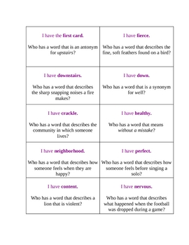 I Have, Who Has Vocabulary - Macmillan/McGraw-Hill- 3rd grade, Unit 1