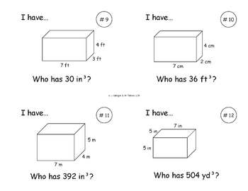 I Have, Who Has... {Volume of Cubes & Rectangular Prisms}