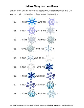 I Have, Who Has Winter Theme - SnowFlakes - 28 Cards
