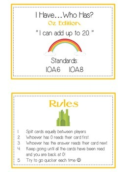 I Have Who Has - Wizard of Oz - Adding 10 to 20 - Math Folder Game