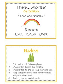 I Have Who Has - Wizard of Oz - Adding DOUBLES - Math Folder Game