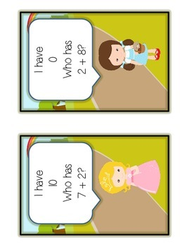 I Have Who Has - Wizard of Oz - Math Folder Game Adding to 10 - Common Core