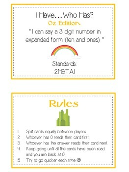 I Have Who Has Wizard of Oz Math Game Expanded Form 3 Digit 100 10 1 Place Value
