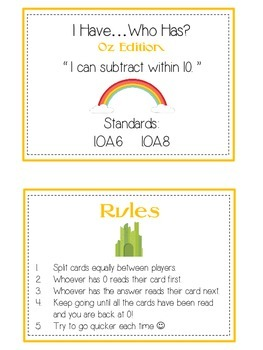 I Have Who Has - Wizard of Oz - Subtracting within 10 - Math Folder Game