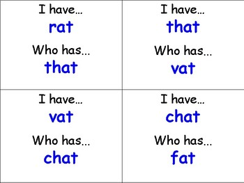 I Have Who Has Word Families (-at, -am, -an, -ap, -ab -ag)