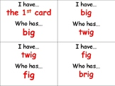 I Have Who Has Word Families (-ig, -in, -ip, -it)