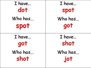 I Have Who Has Word Families (-op, -ot, -og, -ob)