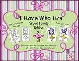 I Have Who Has Word Family Version