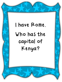 I Have, Who Has World Capitals- A whole class social studies game!