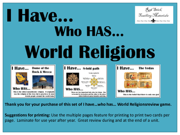 I Have..Who Has.. World Religions